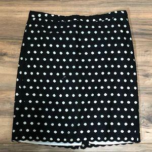 Loft black and white polka dot skirt sz 4